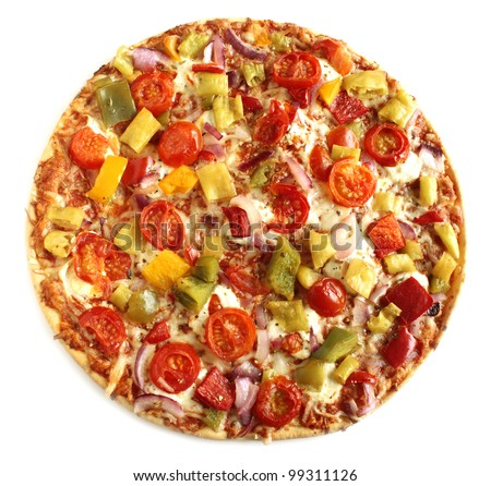 Vegetable pizza vegetarian on white background isolated - stock photo