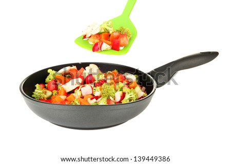 Vegetable ragout in pan, isolated on white