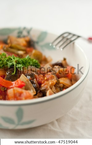 Vegetable ratatouille in the bowl - stock photo