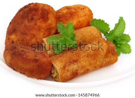 Vegetable roll with potato chop