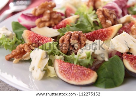 vegetable salad and fig - stock photo