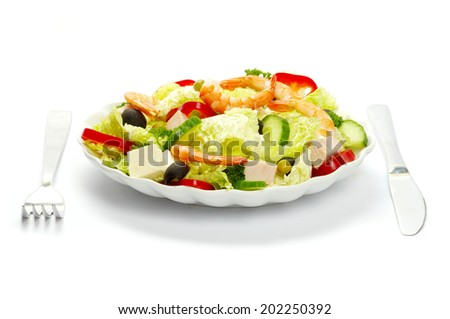 vegetable salad in plate on white - stock photo