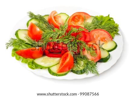 vegetable salad isolated on white background - stock photo