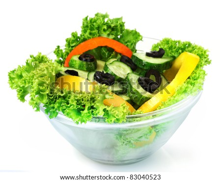 vegetable salad on plate isolated on white - stock photo