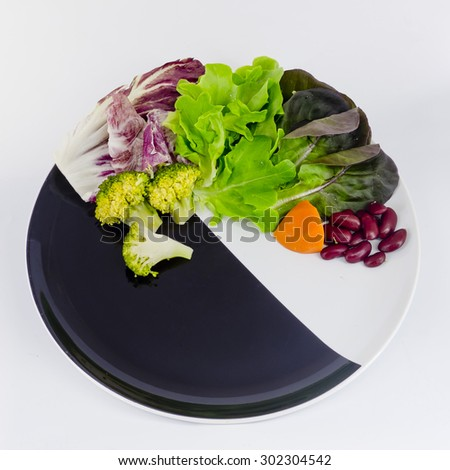 vegetable salad on plate with blank spcae for wording