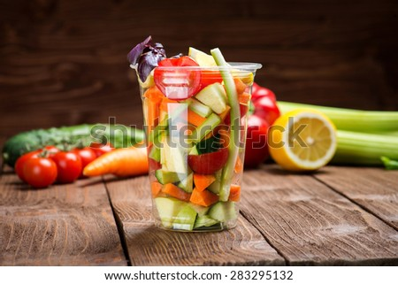 Vegetable salad to go - stock photo