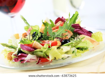 Vegetable salad with pieces of grilled chicken - stock photo