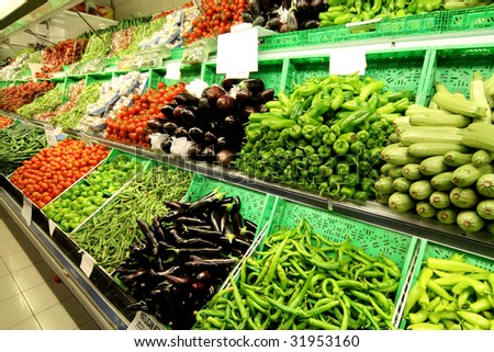Vegetable sales stand in the market - stock photo