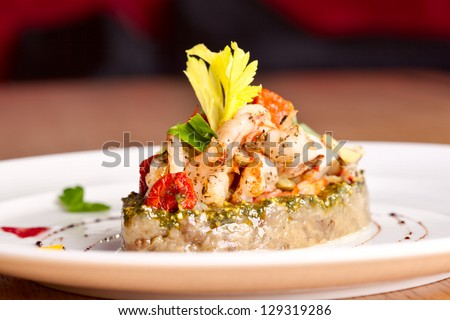 Vegetable saute with seafood - stock photo
