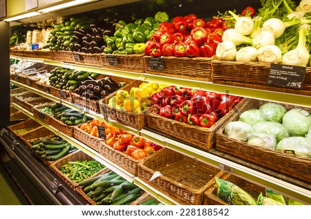 Vegetable section in the department store - Stock Image - stock photo