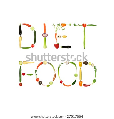 Vegetable selection spelling the words diet food, over white background. - stock photo