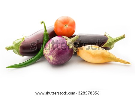 Vegetable set: hot chilly pepper, eggplants and tomato - stock photo