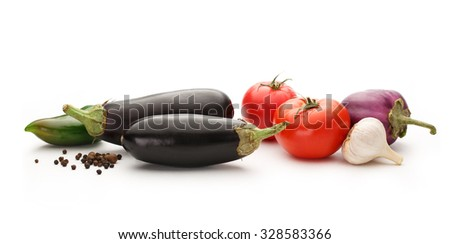Vegetable set of tomatoes, pepper, garlic and eggplants - stock photo