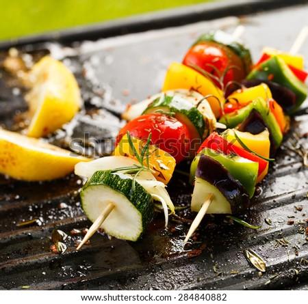 Vegetable skewers - stock photo