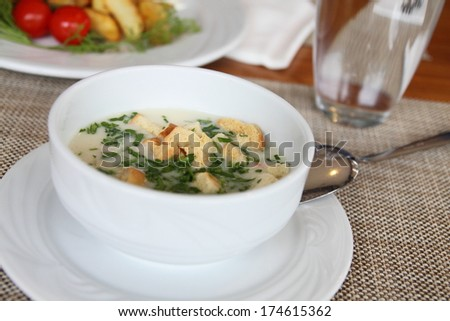 Vegetable soup Cauliflower with breadcrumbs and parsley - stock photo