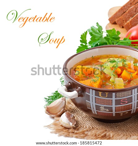 Vegetable soup isolated on white background - stock photo
