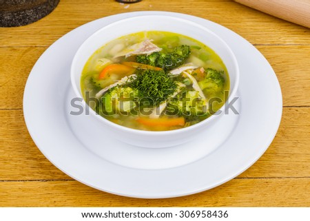 Vegetable soup with chicken - stock photo