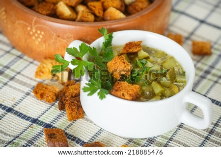 vegetable soup with pickled cucumbers and croutons - stock photo