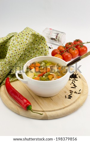 Vegetable soup with wild rice