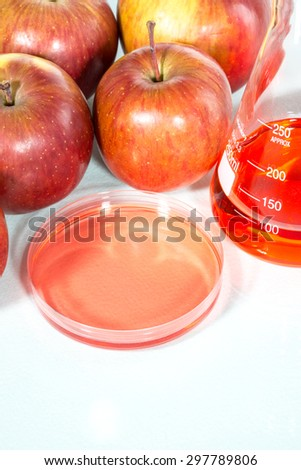 vegetable test,  apple, Genetic Modification, Scientific Experiment - stock photo