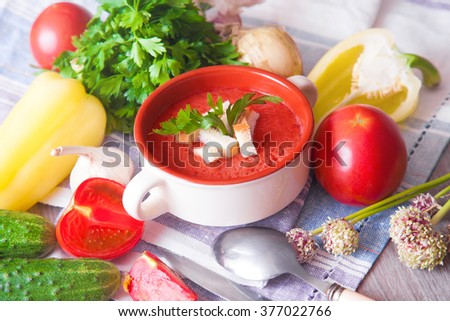 Vegetable tomato soup with croutons on the table - stock photo