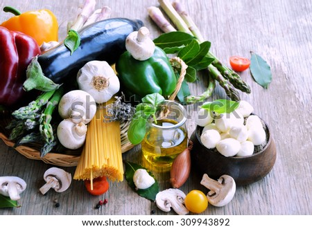 vegetables and cheese, organic food, cooking concept - stock photo