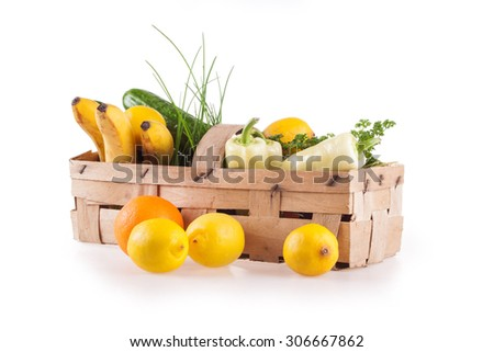 vegetables and fruit in the wooden temples isolated on white background - stock photo