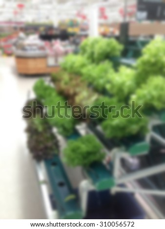 Vegetables and fruit on shelf in supermarket blurred background - stock photo