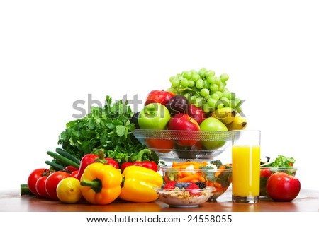 Vegetables and fruits. Apple, carrot, plum, sweet pepper - stock photo