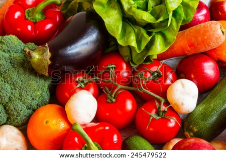 Vegetables and fruits background, close up  - stock photo