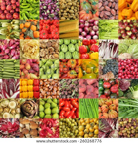 vegetables and fruits collage  - stock photo