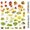 Vegetables and fruits collection isolated on white background - stock photo