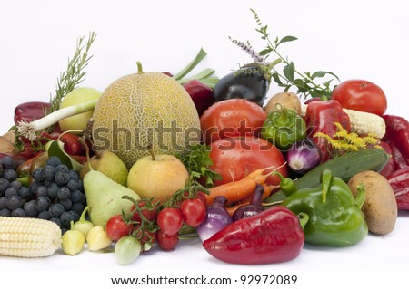 Vegetables and  fruits on white  background - stock photo