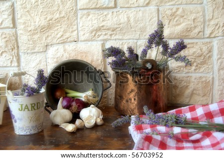 vegetables and lavender - stock photo