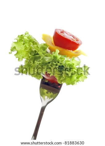 vegetables and salad  isolated
