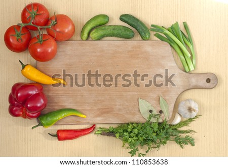 Vegetables and spices border and blank cutting desk board for recipes
