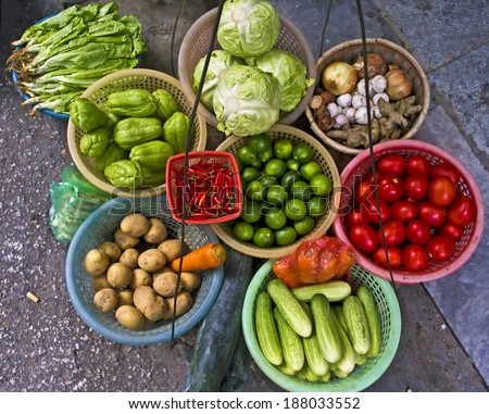 Vegetables and tropical fruit at a local market