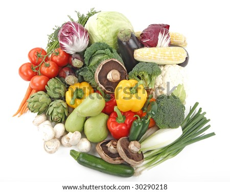 Vegetables - Assorted vegetables over the white background