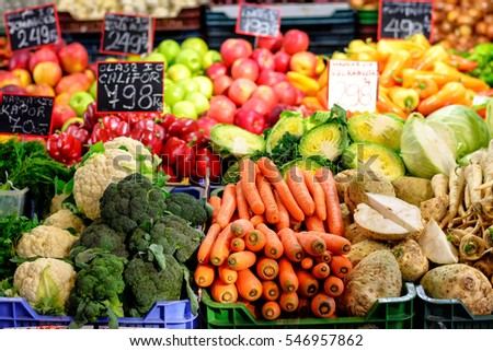 vegetables assortment at marketplace