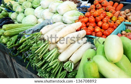 Vegetables at a market, chonburi, thailand - stock photo