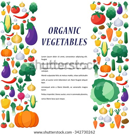 Vegetables Background in Flat Style, Concept Organic Food, Vegetarian Menu, Healthy Diet. Design Element Template