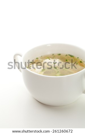 Vegetables Broth with Chicken Meatball and Herbs - stock photo