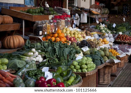 Vegetables Displayed on a Market Stall - stock photo