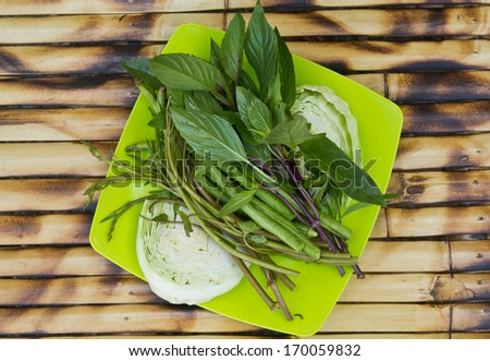 Vegetables eaten with food, Thailand - stock photo