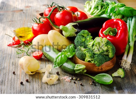 Vegetables for cooking healthy dinner, kitchen table, vegetarian and vegan food, fresh ingredients - stock photo
