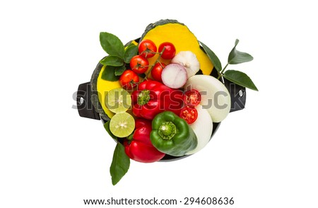 Vegetables for healthy on white isolate background with clipping path. - stock photo