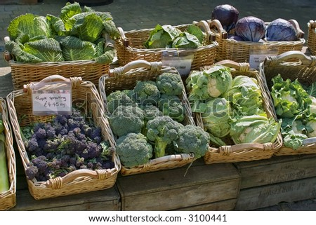 vegetables for sale in open air farmers market - stock photo