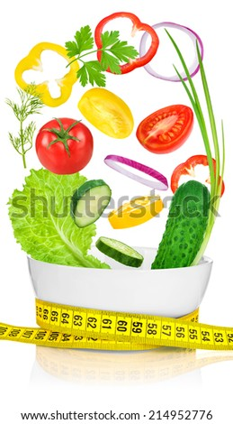 Vegetables for weight loss in a white bowl wrapped with a measuring tape. ���¡oncept diet