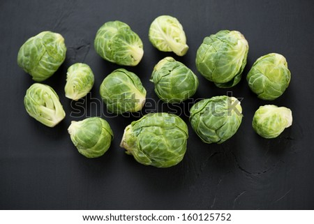 Vegetables: fresh brussels, view from above - stock photo