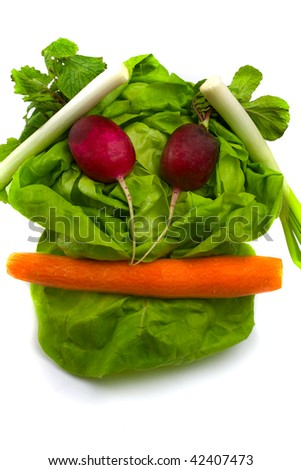 Vegetables funny face - stock photo